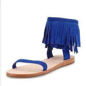 Kate Spade Alex Fringe Sandal - Sz 6 - Lapis Blue